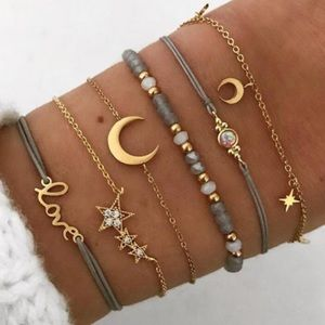 🔜Boho Celestial Moon & Stars 6pc Bracelet Set!